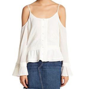Jenna Cold Shoulder Embroidered Blouse